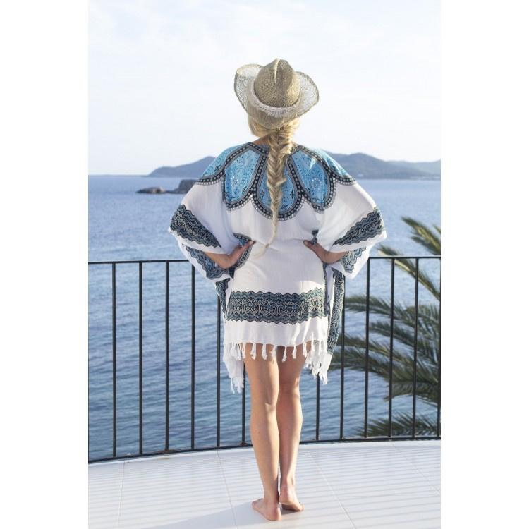 Sarong Dress white blue