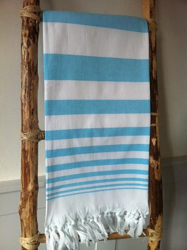 Hamamdoek met badstof Streep Blue