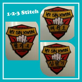 Badges geborduurd voor Yu sin kwon in Hellevoetsluis