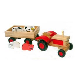 Playwood tractor met dieren en aanhanger