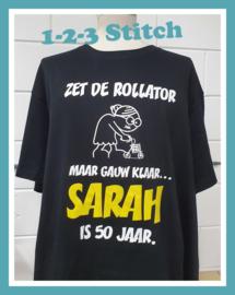 Zet de rollator maar gauw klaar.... Sarah is 50 jaar.