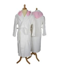 Badstof badjas met capuchon White \Light Pink