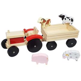 Tractor met aanhanger rood klein; inclusief 4 dieren
