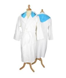 Badstof badjas met capuchon White \Aqua Blue