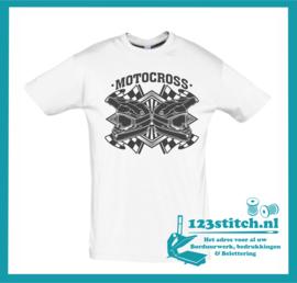 Motocross T-shirt wit met logo