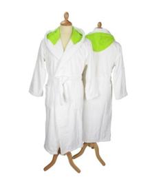 Badstof badjas met capuchon White \Lime Green