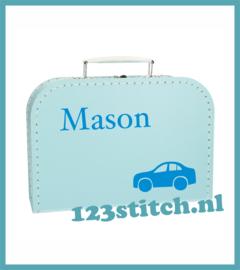 Kinderkoffertje auto met naam