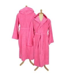 Badstof badjas met capuchon Pink