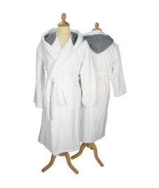 Badstof badjas met capuchon White \Anthracite Grey