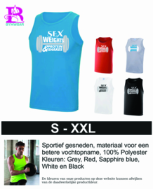 """Tanktop heren """"Sex, Weight and protein shakes"""""""