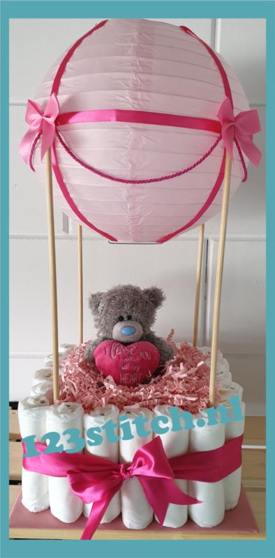 Luiertaart luchtballon roze