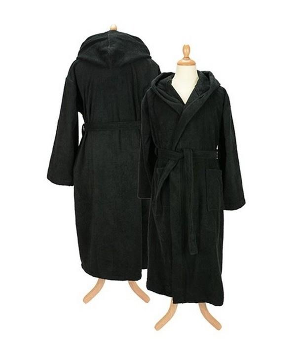 Badstof badjas met capuchon Black