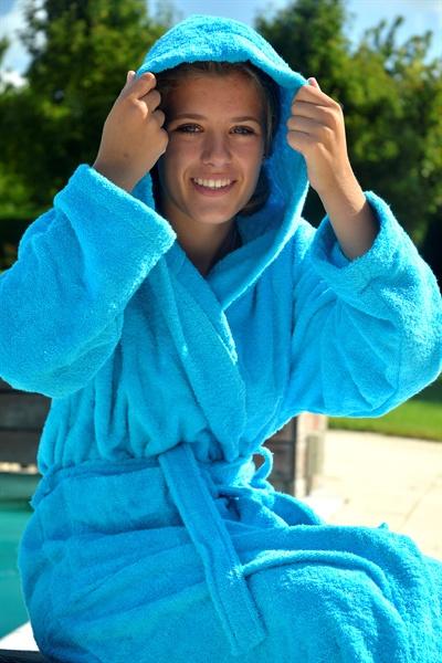 Badstof badjas met capuchon Aqua Blue