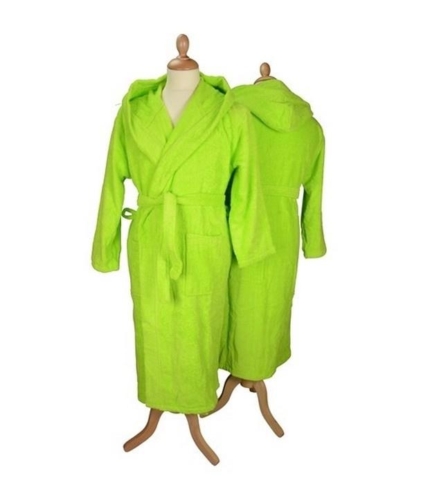 Badstof badjas met capuchon Lime Green