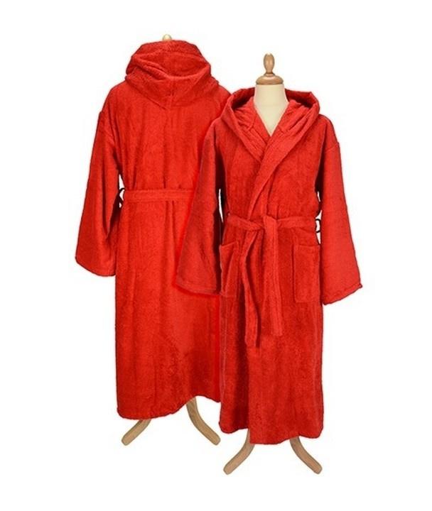 Badstof badjas met capuchon Red