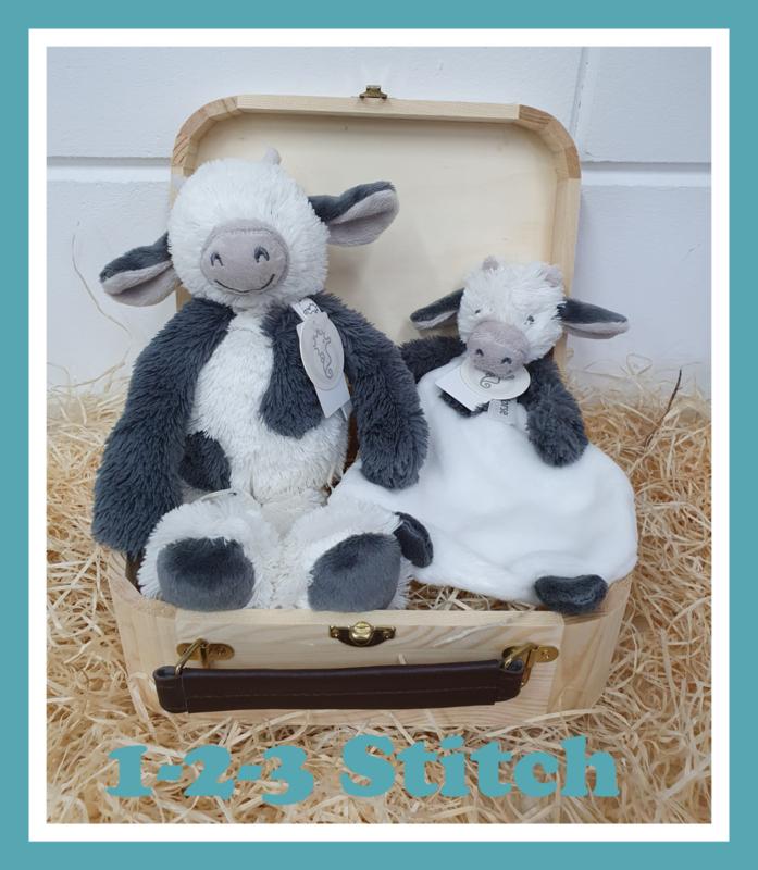 Houten koffertje Cow Casper pakket