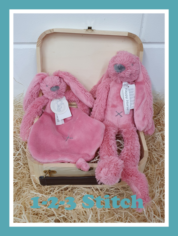 Houten koffertje Rabbit Richie Deep Pink pakket
