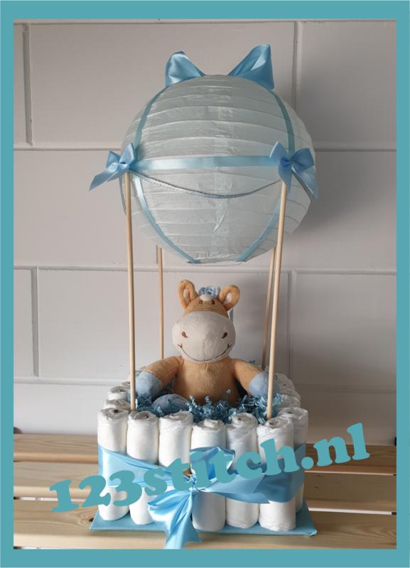 Luiertaart luchtballon blauw