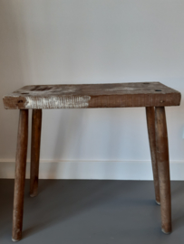 Brocante Franse oude houten  tafeltje bijzettafel