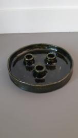 Kandelaar 3 kaarsen Groen handgemaakt Keramiek