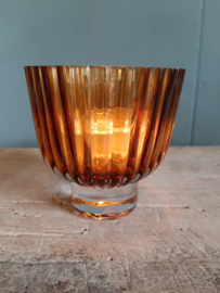 Bruine glazen waxinelichthouder