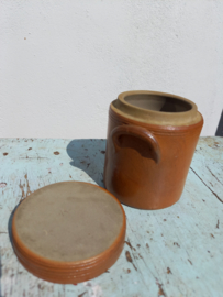 Frans brocant oud bruin potje met deksel
