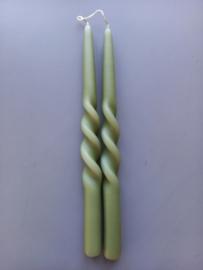 Dineerkaars Swirl olijfgroen 2 stuks