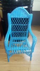 Brocante Franse Blauwe Kinderstoel
