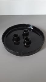 Kandelaar 3 kaarsen Zwart  handgemaakt Keramiek
