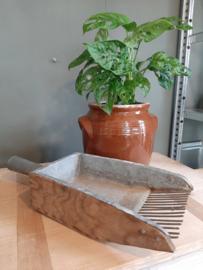 Brocante Franse houten / ijzeren gruttersschep