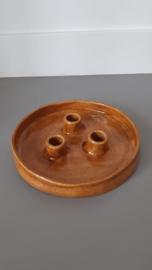 Kandelaar 3 kaarsen Cognac handgemaakt Keramiek