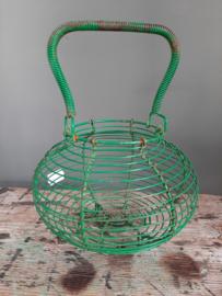 Brocante oude Franse groene eiermandje