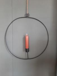Metalen krans ring met kaarsenhouder zwart (Hang)