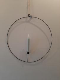 Metalen ring met kaarsenhouder zwart (Hang) 50  cm.