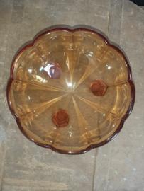 Prachtige bruine glazen schaal op pootjes