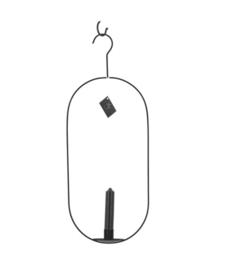 Ovale zwarte hangende kaarsenhouder