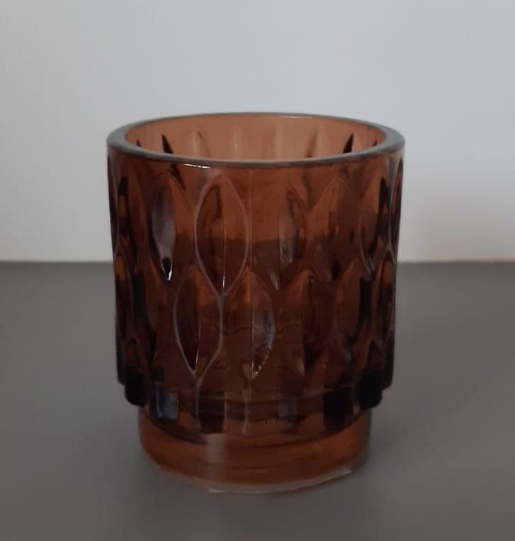 Theelicht GRACE glas licht bruin H 8 cm