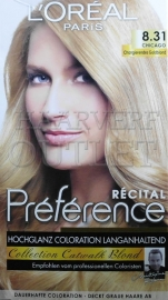 L`Oreal Recital Preference 8.31 Licht goudblond