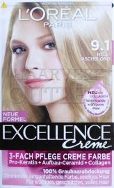 L`Oréal Excellence Creme 9.1 Licht Asblond
