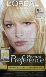 L`Oreal Recital Preference 8.313 Licht Goud Asblond