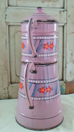 Emaille roze koffiepot VERKOCHT