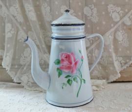 Franse koffiepot met roos VERKOCHT