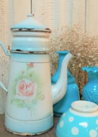 Emaille koffiepot met violen en rozen VERKOCHT