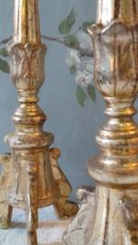 Verguld houten penkandelaars VERKOCHT