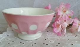Roze kom met witte stippen VERKOCHT