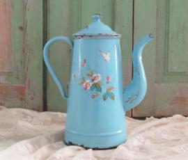 Emaille koffiepot met vlinder & bloemen VERKOCHT