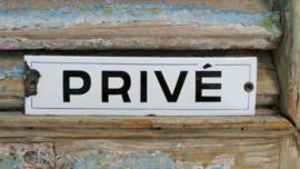 Emaille bordje 'privé' VERKOCHT