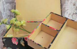 Stoffen doos zwart met bloemen