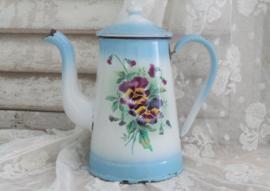 Koffiepotje met paarse viooltjes VERKOCHT