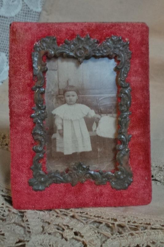Fotolijstje oud rood VERKOCHT